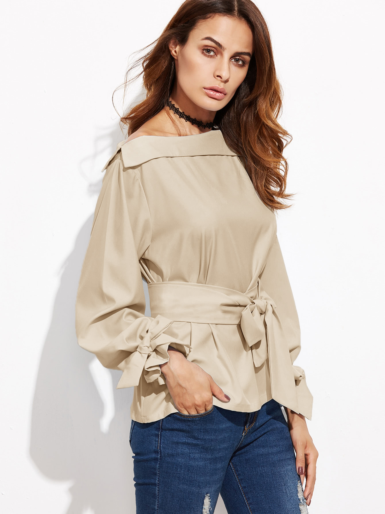 Foldover Neck Belted Bow Tie Sleeve Blouse