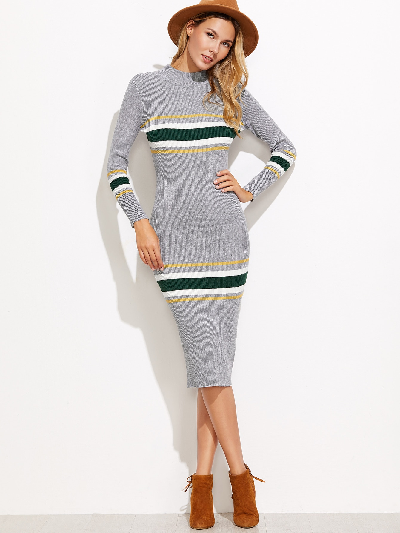 Grey Striped Ribbed Sweater Dress dress161108101