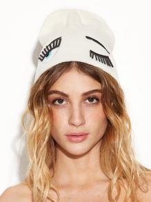 Cappello Beanie Applique Schema Di Occhi - Bianco