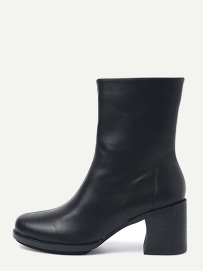 Black Faux Leather Mid Calf  Chunky Heel Boots
