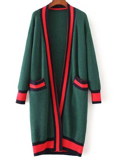 Green Contrast Trim Sweater Coat With Pocket