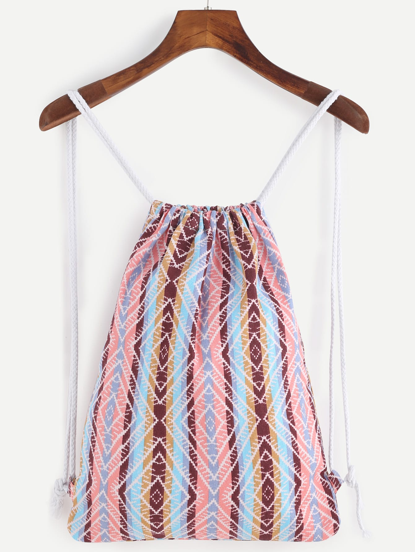 Multicolored Stripe Canvas Bucket Backpack With Rope StrapMulticolored Stripe Canvas Bucket Backpack With Rope Strap<br><br>color: Multi<br>size: None