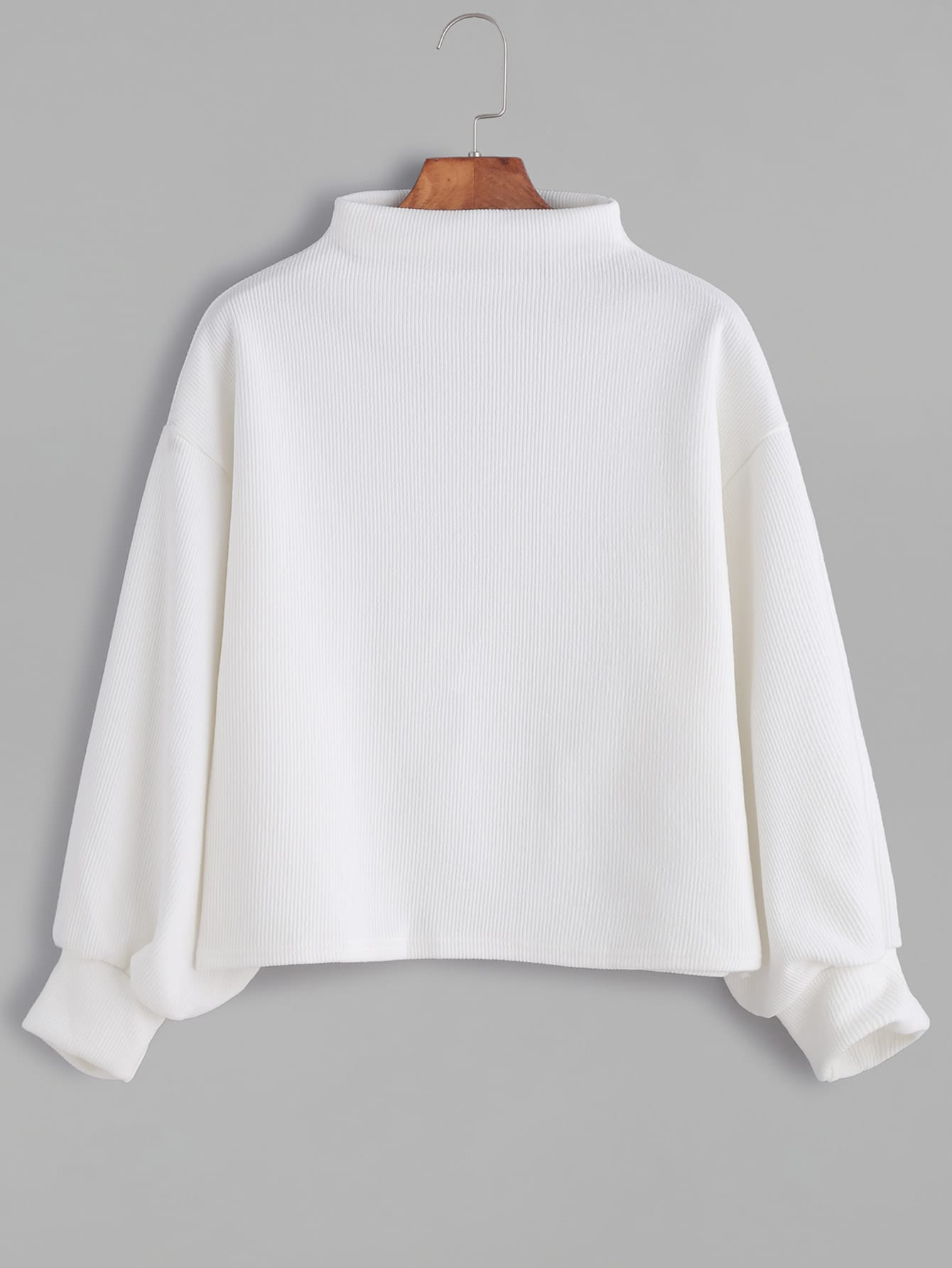 White Ribbed Lantern Sleeve Sweater sweater161103003
