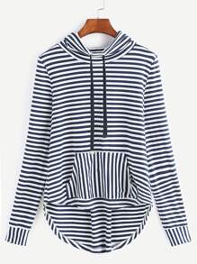 Navy And White Striped Drawstring Cowl Neck High Low Sweatshirt