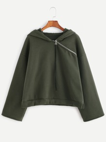 Olive Green Asymmetric Zip Neck Drop Shoulder Hoodie