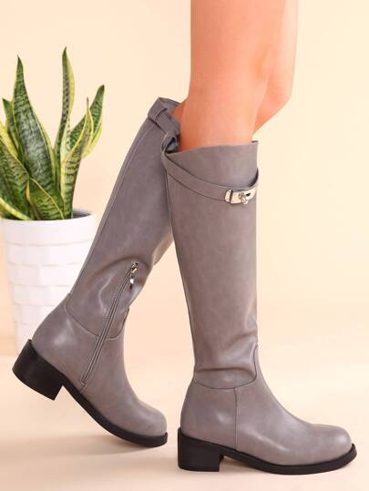 Grey PU Buckled Strap Side Zipper Knee Boots