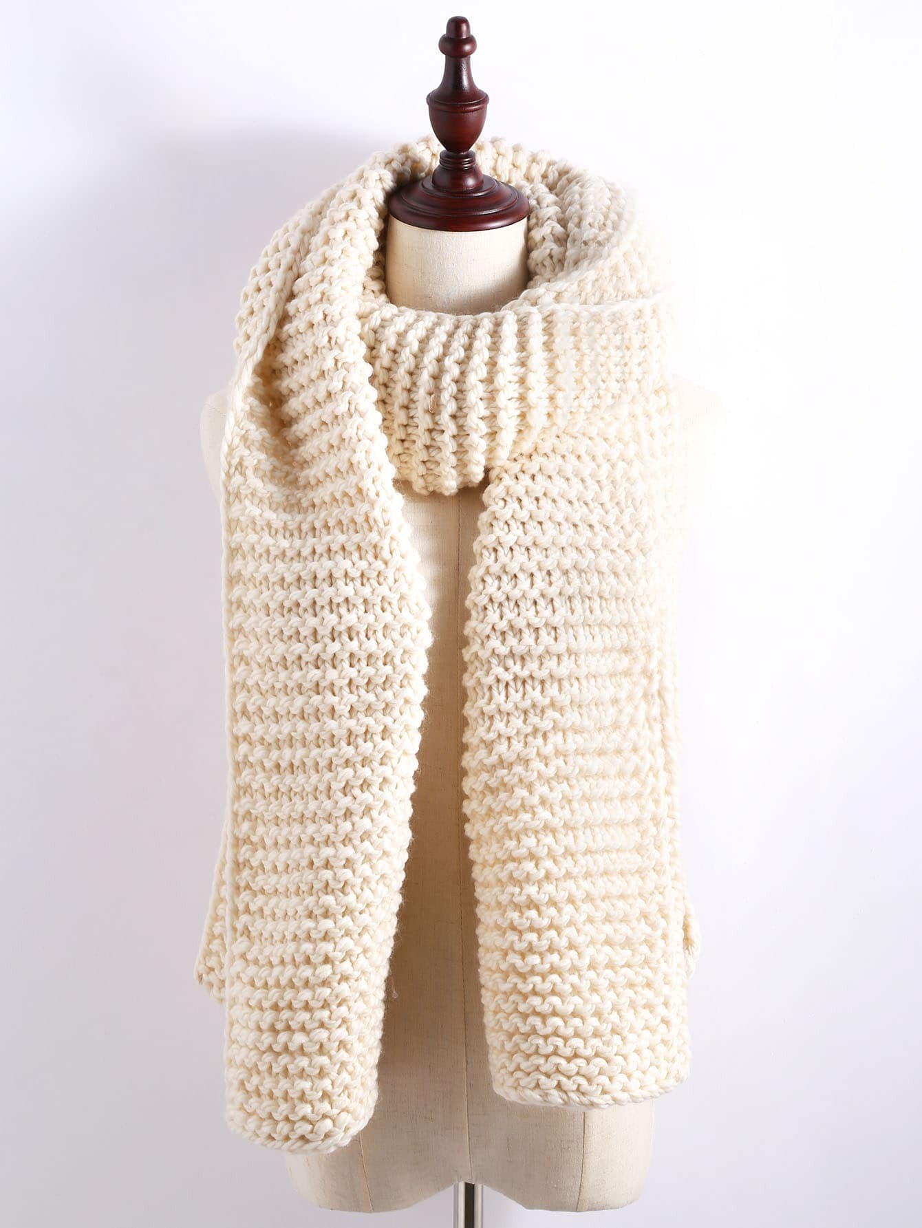 Apricot Chunky Knit Textured Long ScarfApricot Chunky Knit Textured Long Scarf<br><br>color: Apricot<br>size: None