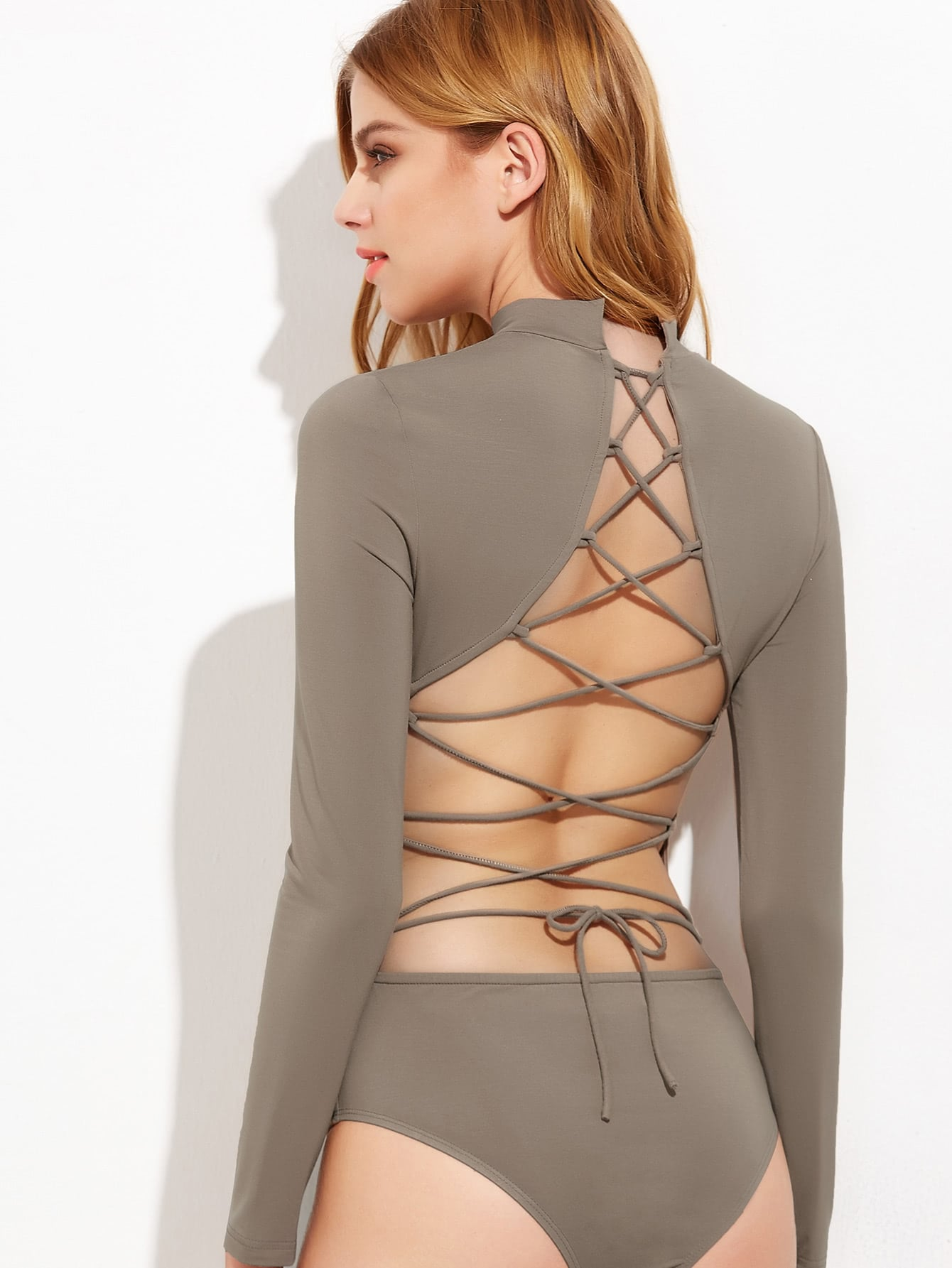 Фото Lace Up Open Back Long Sleeve Bodysuit. Купить с доставкой