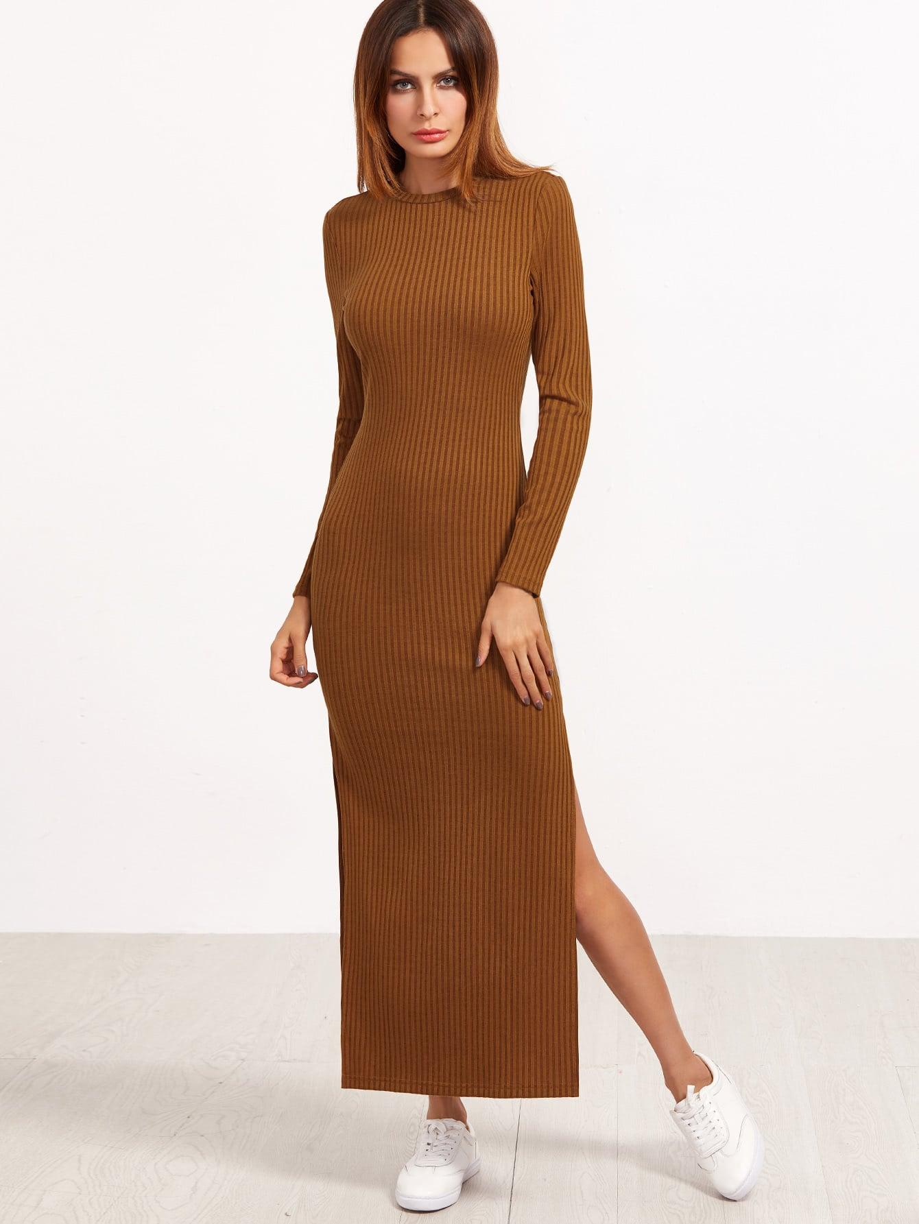High Slit Ribbed Dress dress161121704