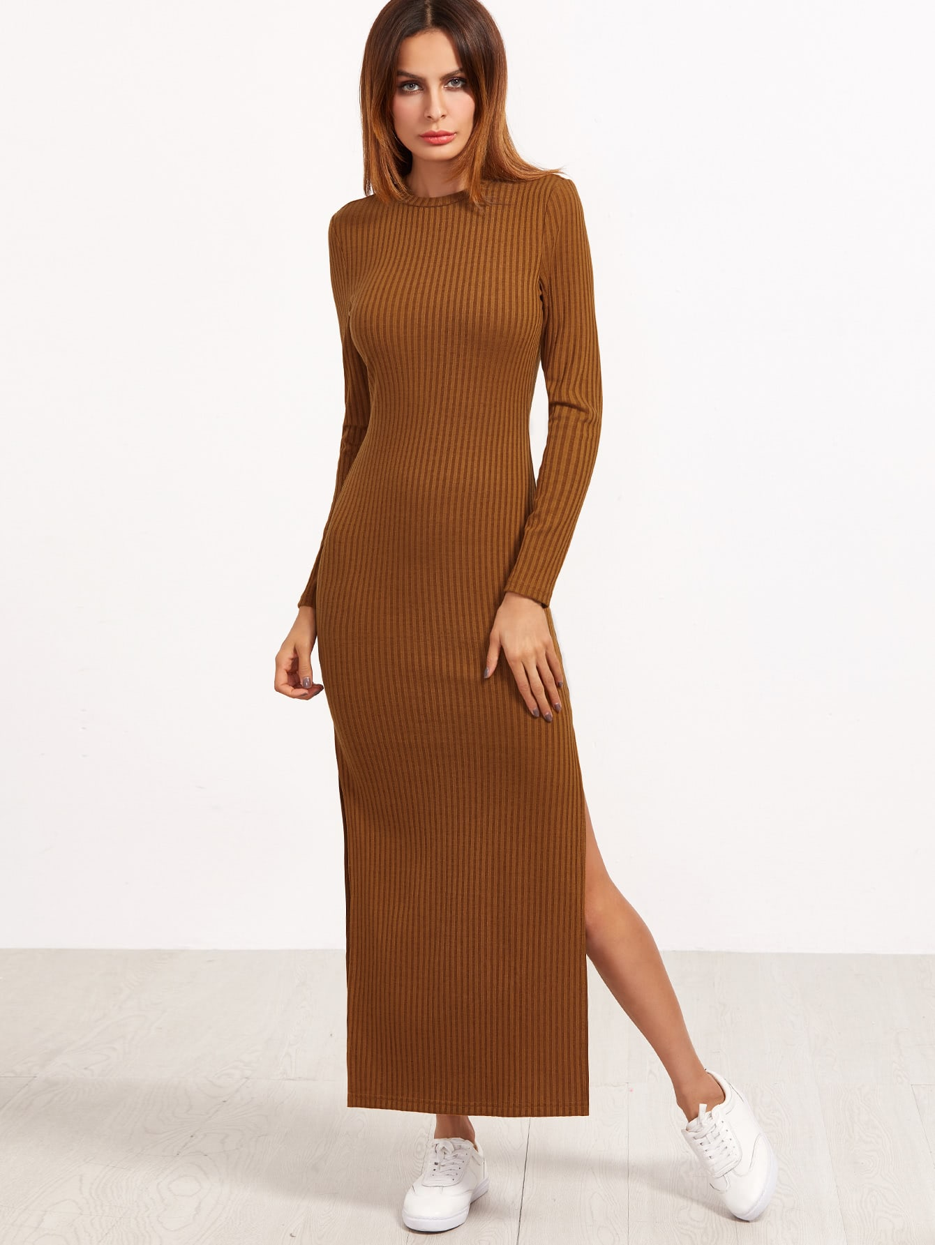 High Slit Ribbed Dress dress161121704