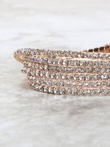 Multi Stack Crystal Stretch Bracelets GOLD