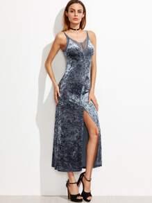Blue Lace Trim High Slit Front Crushed Velvet Cami Dress