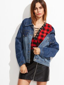 Blue Ombre Drop Shoulder Single Breasted Denim Jacket