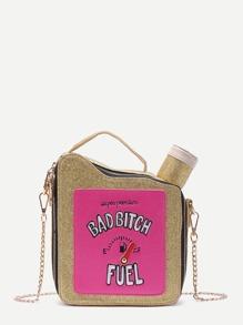 Bolso con cadena en forma de tanque de combustible - dorado