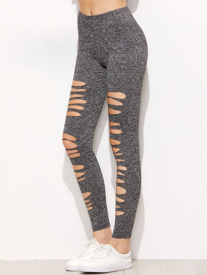 Marled Knit Ripped Leggings