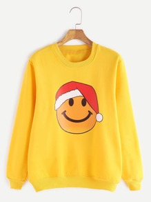 Yellow Emoji Print Ribbed Trim Sweatshirt