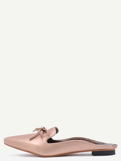 Gold Satin Point Toe Bow Loafers