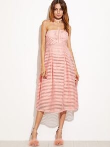 Pink Hollow Out Flare Tube Dress