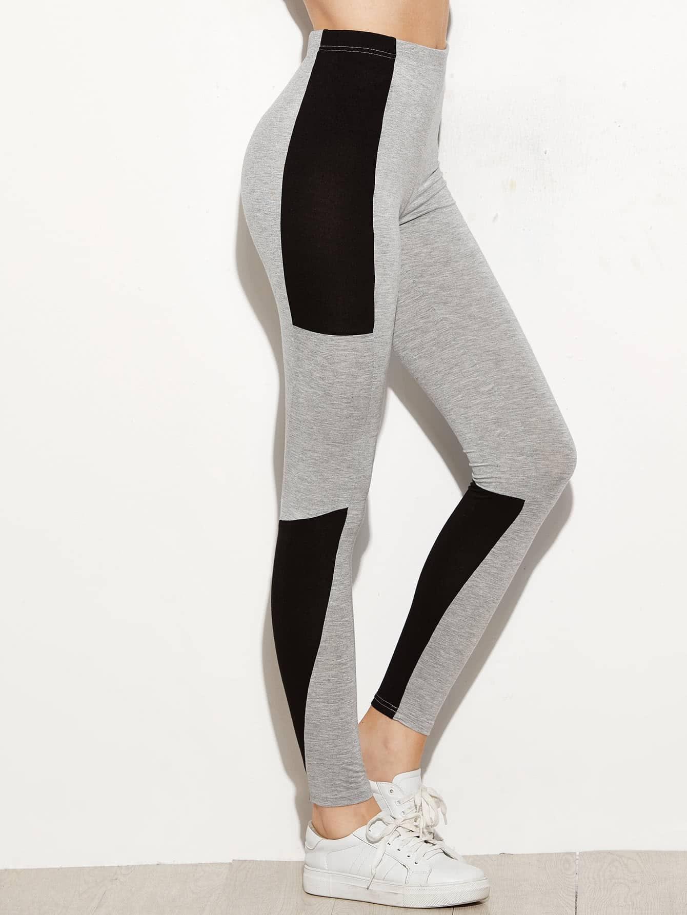 Color Block High Waist Leggings leggings161110701