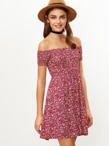 Red Floral Print Off The Shoulder Flare Dress