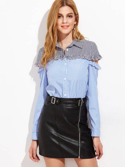 Blue Striped Contrast Gingham Yoke Cutout Ruffle Blouse