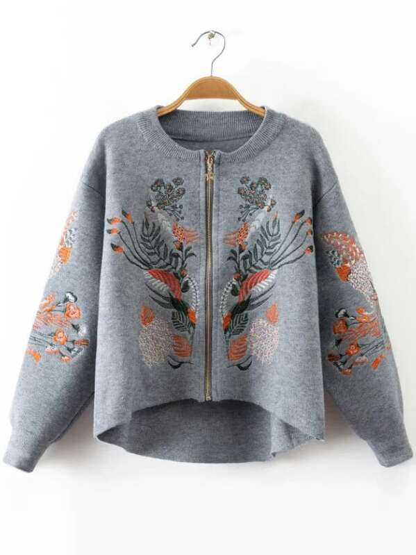 Embroidery Zipper Up High Low Sweater Coat, null
