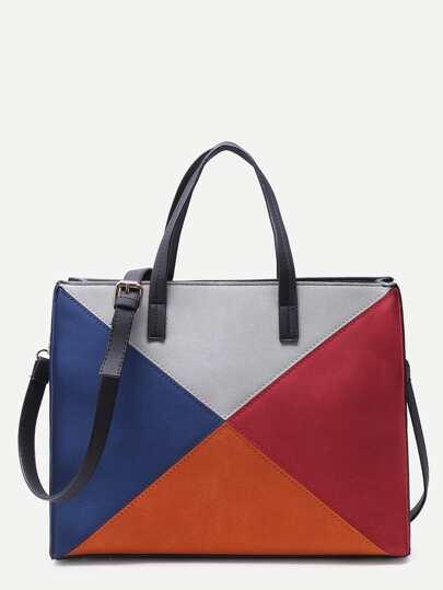 Oversized Multicolor Patchwork Leather Panel Shoulder Bag