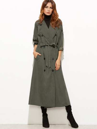Olive Green Double Breasted Drawstring Waist Trench Coat