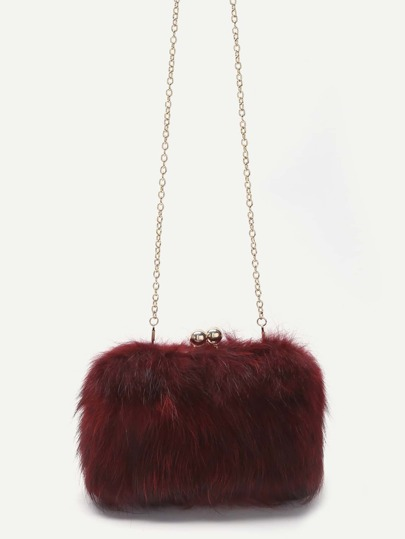 Red Fox Fur Kiss Lock Crossbody Chain Bag