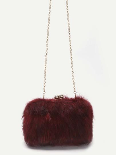 Red Fox Fur Kiss Lock Crossbody Chain Bag