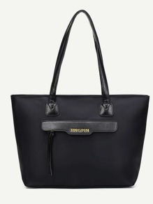 Black Zip Front Nylon Tote Bag
