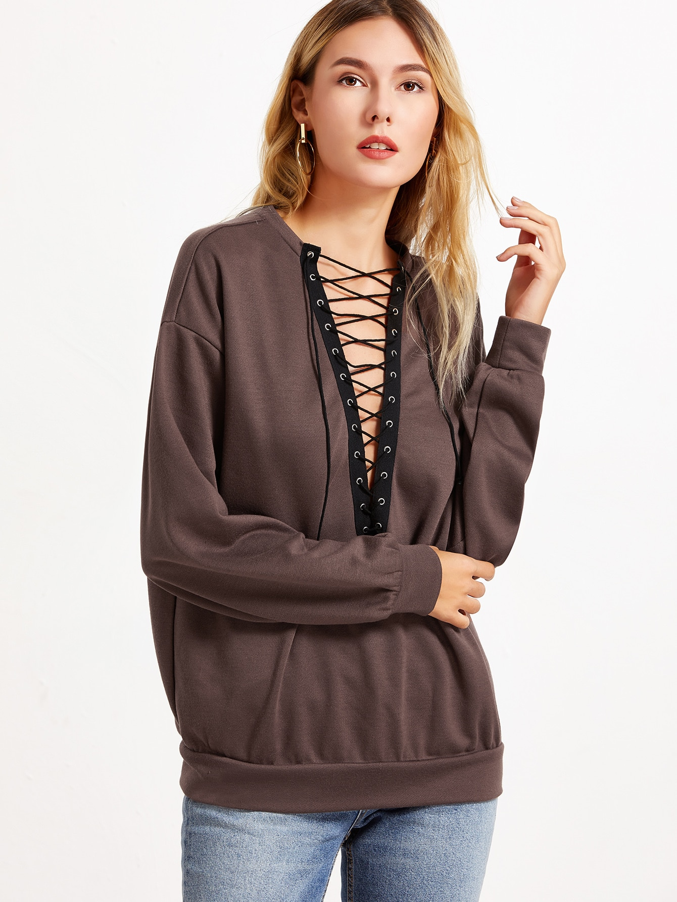 Фото Brown Eyelet Lace Up V Neck Oversized Sweatshirt. Купить с доставкой