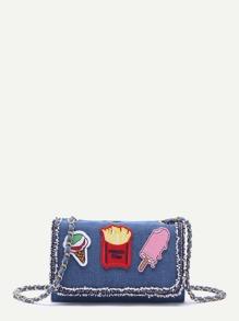 Blue Denim Raw Edge Flap Messenger Bag