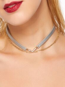Grey Faux Leather Layered Chain Rhinestone Choker Necklace