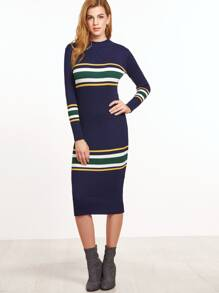 Navy Striped Ribbed Sweater Dress