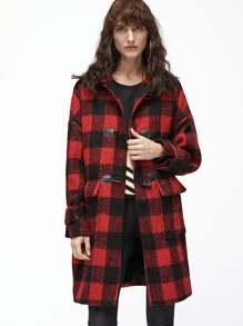 Checkered Belted Cuff Duffle Coat