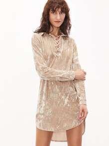 Vestido asimétrico de terciopelo con cordón - albaricoque