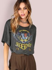 Boxy Freedom Graphic Crop Top CHARCOAL
