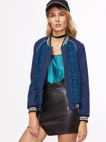 Blue Crochet Overlay Striped Trim Bomber Jacket