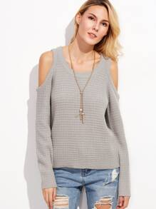 Grey Waffle Knit Cold Shoulder Sweater