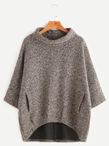 Khaki Turtleneck Dip Hem Pockets Sweatshirt