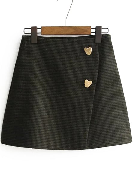 Heart Button Side Zipper Wrap SkirtHeart Button Side Zipper Wrap Skirt<br><br>color: Green<br>size: M,S