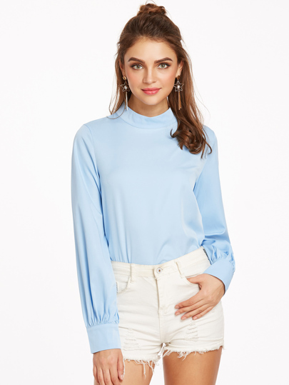 Blue Mock Neck Keyhole Back Buttoned Cuff Top