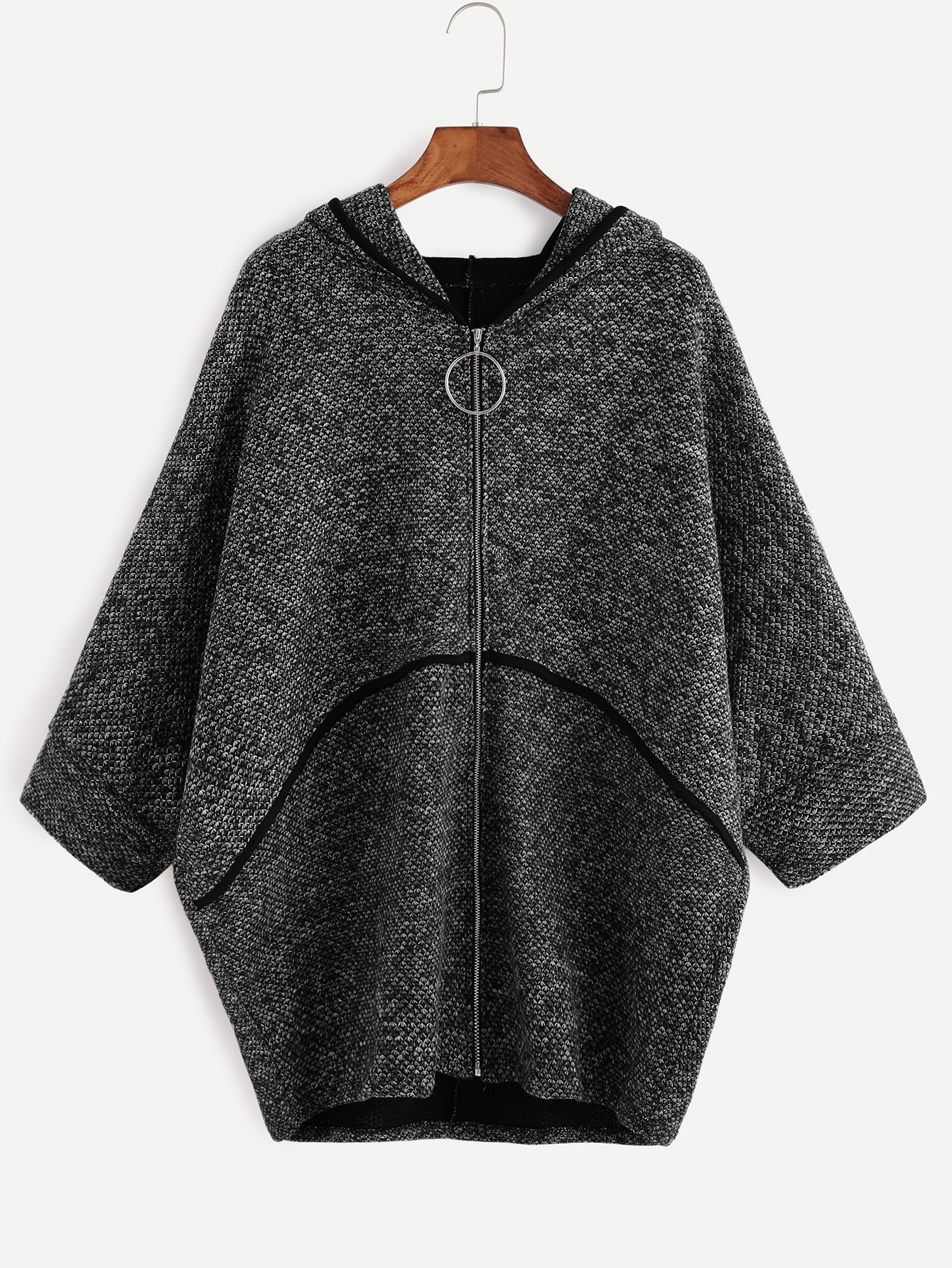 Dark Grey Batwing Sleeve Zipper Up Hooded Coat outer161110002