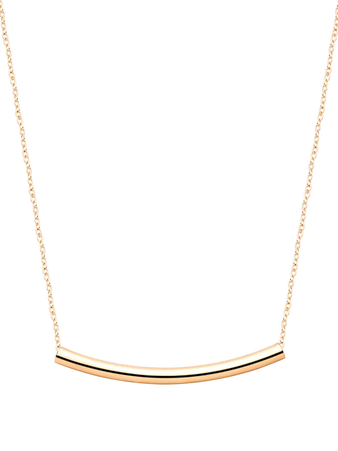 Фото Gold Plated Curved Bar Pendant Necklace. Купить с доставкой