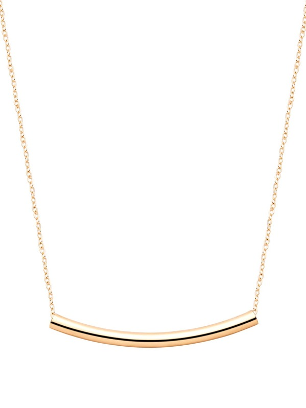 Gold Plated Curved Bar Pendant Necklace, null
