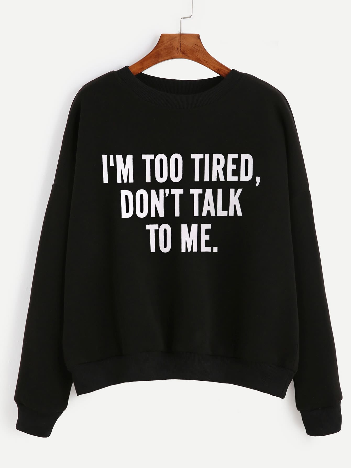 Slogan Print Drop Shoulder Sweatshirt drop shoulder crop sweatshirt