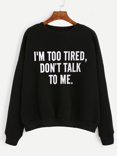Slogan Print Drop Shoulder Sweatshirt