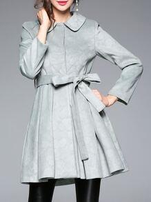 Cyan Lapel Tie-Waist Coat