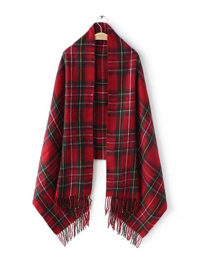 Red Tartan Plaid Long Fringe Shawl Scarf